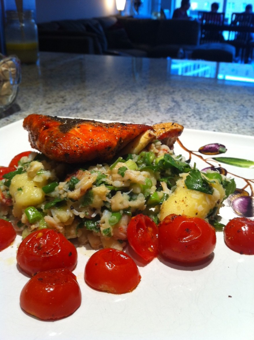 Crispy Salmon with Rustic Potatoes and Crab