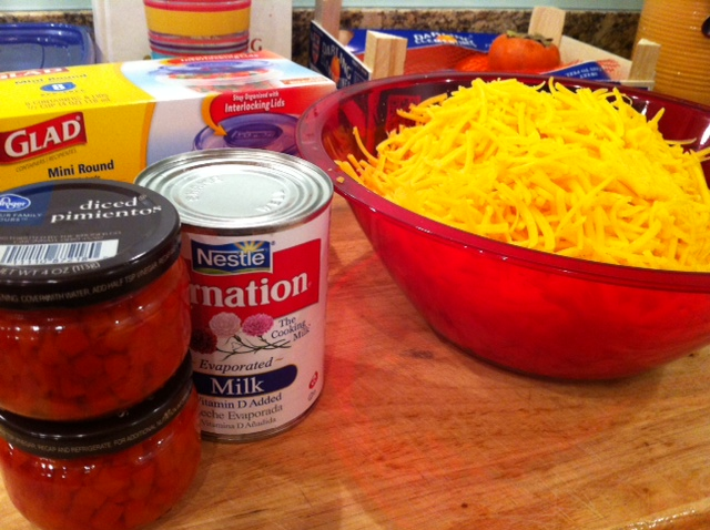 Ingredients for Great Grandma Neva's Pimento Cheese