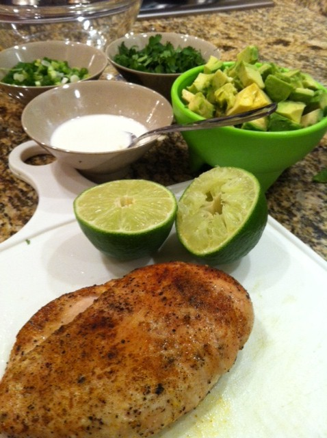 Spicy Chicken, Cilantro and Avocado Salad with Lime Dressing ingredients with chicken in pic (part 2 :)