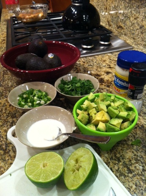 Spicy Chicken, Cilantro and Avocado Salad with Lime Dressing ingridents part 1