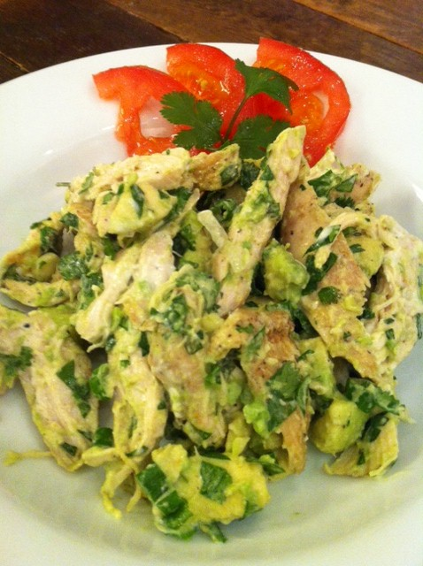 Spicy Chicken, Cilantro and Avocado Salad with Lime Dressing! YUM and done! 8-)
