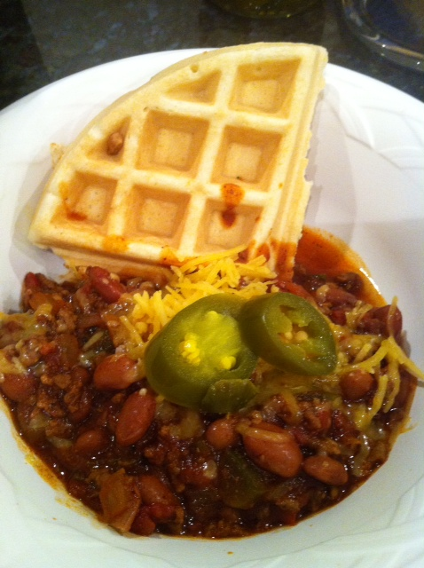 Chili served on corn waffles