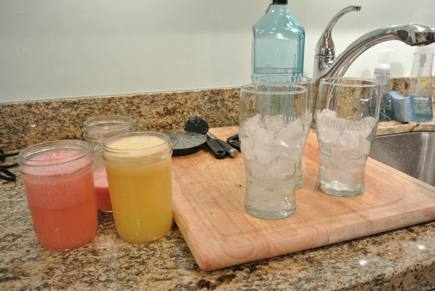 Juiced with juicer...grapefruit and pineapple.