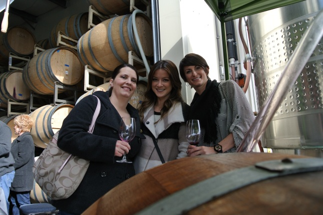 The girls, barrel tasting.