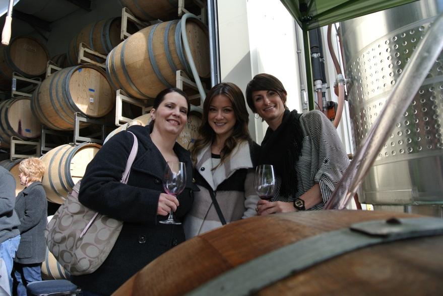 The girls, barrel tasting.
