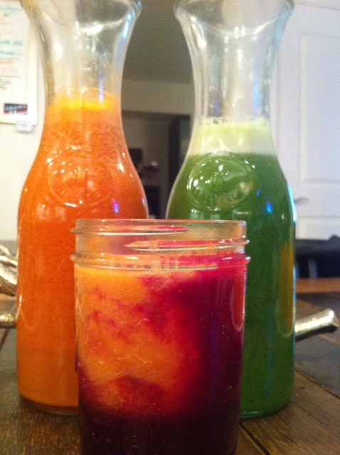Green Juice, Orange Glow Juice, Red Juice