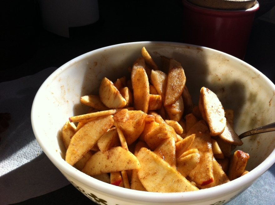 Thinly slice your apples Combine the sugars, allspice, nutmeg and cinnamon in a small bowl and mix well.  Sprinkle about 3/4 of the mixture over to apples and toss to coat.