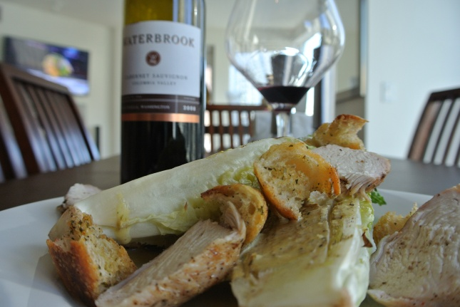 For me the salad paired well with Waterbrook Cab Sauv.