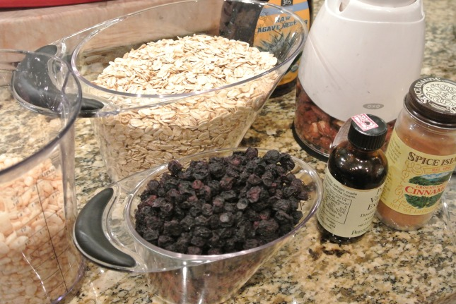 Ingredients for breakfast bars less the peanut butter :0)