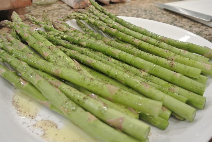 Olive oil, salt, peppered asparagus